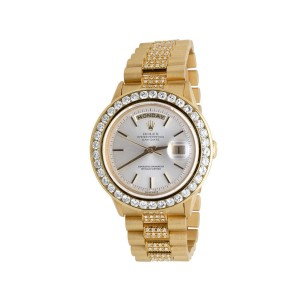 Rolex Presidential Day-Date 18K  Yellow Gold Prong Diamond Mens Watch