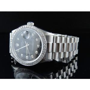 Rolex Datejust Presidential Stainless Steel Black Dial 2.5ct Diamond Bezel Mens Watch
