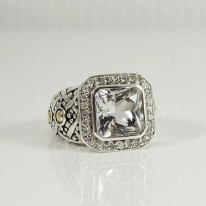 John Hardy Batu Sari  Sterling Silver .25tcw White Topaz, Diamond Ring