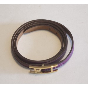 Hermes Hapi Purple Leather & Gold Tone Hardware H Buckle Triple Tour Bracelet