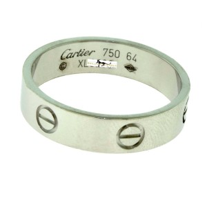 Cartier Love 18K White Gold Ring Size 10.75