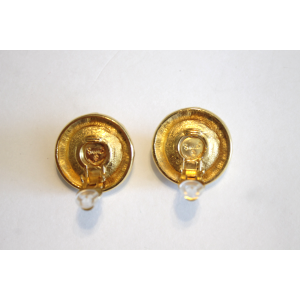 Chanel Vintage Gold Tone Hardware Simulated Glass Pearl Clip On Earrings