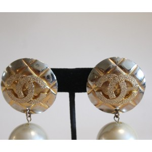 Vintage Chanel Gold Tone Hardware with Simulated Glass Pearl CC Clip On Earrings