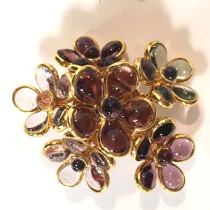 Chanel Vintage Gold Tone Hardware with Purple Clear Gripoix Flower Cluster Clip On Earrings