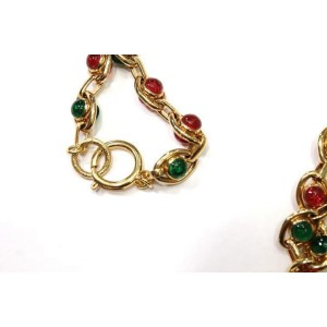 Chanel Vintage Gold Tone Hardware with Red and Green Gripoix Necklace