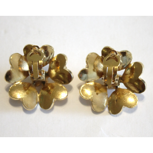 Chanel Vintage Gold Tone Hardware with Glass Simulated Pearl Clip on Earrings