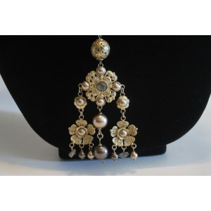 Chanel Gold Tone Hardware and Brass with Glass Simulated Pearl and Crystal Camellia Chandelier Necklace