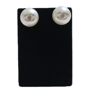 Chanel Gold Tone Hardware & Simulated Glass Pearl CC Pierced Posts Button Earrings