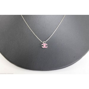 Chanel 925 Sterling Silver & Pink Enamel CC Pendant Chain Necklace