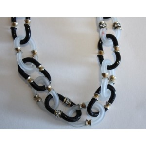 Chanel Archimedes Seguso Glass & Gold Tone Hardware Frosted Venetian Link Necklace