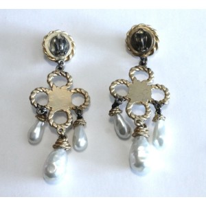 Chanel Gold Tone Hardware with Simulated Glass Pearl Chandelier Dangle Drop Clip on Earrings