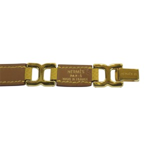 Hermes Gold Tone Hardware and Leather Link Bracelet
