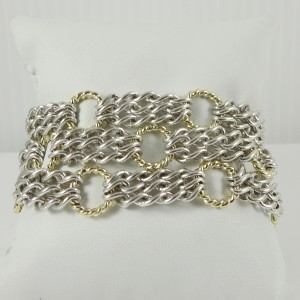 David Yurman Sterling Silver 18K Yellow Gold 3-Row Sculpted Cable Circle Chain Bracelet