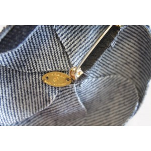 Chanel Gold Tone Hardware with Blue Denim Camellia Lapel Pin Brooch