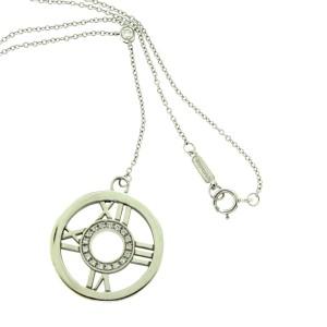 Tiffany & Co. Atlas 18K White Gold with Diamond Circle Roman Numeral Pendant Necklace