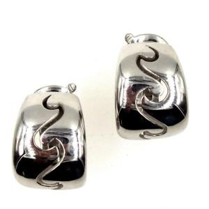 Van Cleef & Arpels Wave 18K White Gold Hoop Earrings