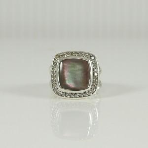 David Yurman Albion  Sterling Silver .24tcw Black Mother of Pearl, Diamond Ring