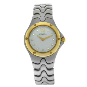 New Ladies' Ebel Sport Wave 1956K21 Gold 28MM MOP Diamond Quartz $2,400 Watch