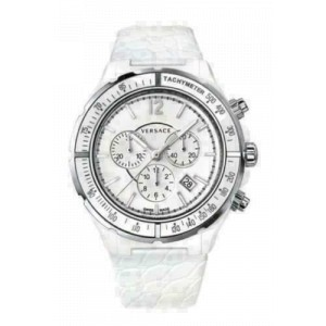 New Versace DV One 28CCS1D001 S001 Steel Ceramic Chrono 43MM Quartz Watch