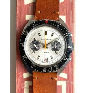 Vintage Breitling Datora Chronograph Manual Wind Valjoux 7734 Steel Case Watch