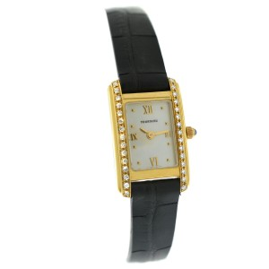 Tourneau Super Oro Quadro Ladies Diamonds 18K Yellow Gold MOP Quartz 18MM Watch