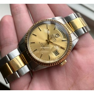 Tudor Oyster Prince Dateday Quickset Champagne Sunburst Dial Two Tone Watch