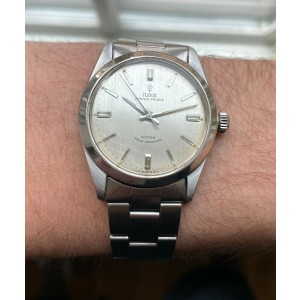 Vintage Tudor Oyster Prince 60s Automatic Silver Rose Dial Steel Case Watch