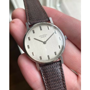 """Vintage Universal Geneve Manual Wind Brushed Silver """"Stick"""" Dial Steel Watch"""