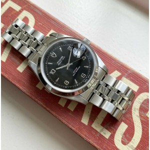 Tudor Prince Date 74000 Automatic Black Glossy Dial Quickset Date w/Papers Watch