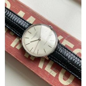"Vintage IWC Manual Wind ""Turler"" Stamp Silver Sunburst Dial Steel Case Watch"