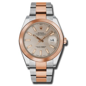 Rolex Two-Tone DateJust II Rose Gold Sundust Index Dial Watch