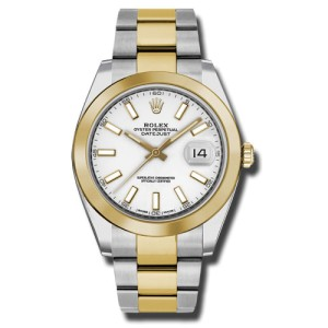Rolex Two-Tone DateJust II 126303 wio Yellow Gold White Index Dial Watch