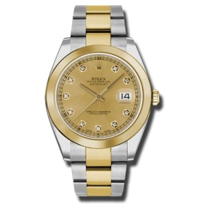 Rolex Two-Tone DateJust II Yellow Gold Champaign Diamond Dial Watch