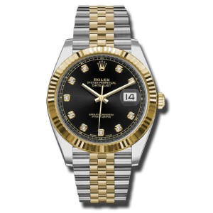 Rolex Two-Tone DateJust II 126333 bkdj Yellow Gold Black Diamond Dial Watch