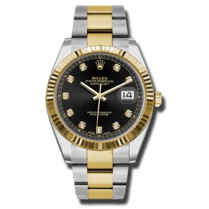 Rolex Two-Tone DateJust II 126333 bkdo Yellow Gold Black Diamond Dial Watch