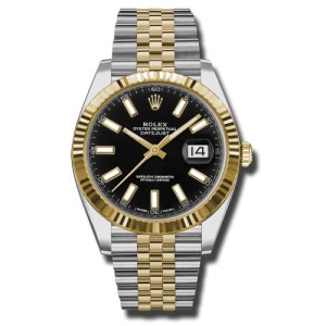 Rolex Two-Tone DateJust II 126333 bkij Yellow Gold Black Index Dial Watch