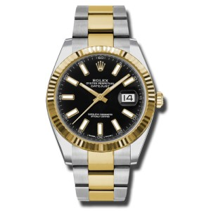 Rolex Two-Tone DateJust II 126333 bkio Yellow Gold Black Index Dial Watch