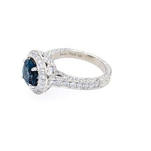 Jack Kelege KPR 363A Platinum London Blue Topaz and Diamonds Ring