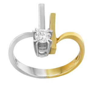 Salvini 18K Yellow and White Gold with 0.20ctw Diamond Cocktail Ring Size 7.5