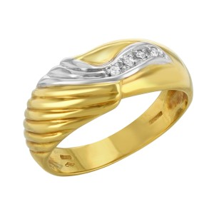 Salvini 18K Yellow & White Gold 0.04ctw Diamonds Ring Size 7.5