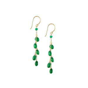 14KY Green Onyx Stone Dangle Earrings