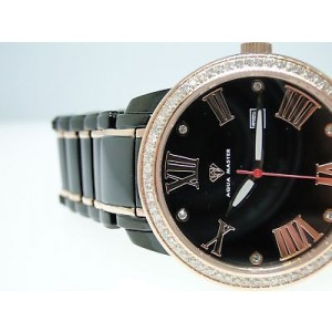 Aqua Master Diamond Watch 76 Diamonds Black/Rose Mens Watch