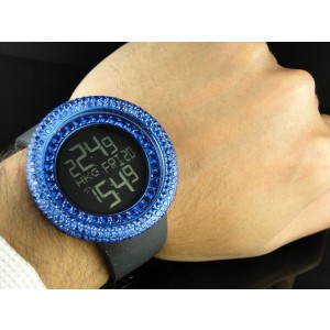 Techno Com Kc Joe Rodeo Simulated Blue 15 Ct Diamond Mens 52mm Watch