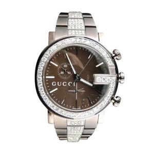 Gucci YA101341 Brown PVD Metal Band Chrono 6 Ct Diamond Mens Watch