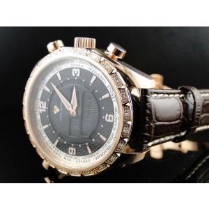 Aqua Master W#326 Joe Rodeo Rose Gold World .75 Ct White Diamonds Mens Watch