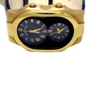 Philip Stein Authentic Man's Large Teslar Solid 18k Yellow Gold Dual Time Watch
