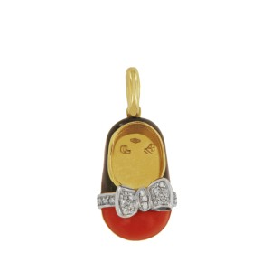 Aaron Basha 18k Yellow Gold Enamel And Diamond Shoe Black & Red