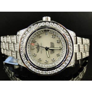 Breitling Aeromarine White Colt Ocean Full 15 Ct Diamond Ladies Watch
