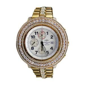 Breitling Super Avenger Aeromarine Gold Genuine 19 Ct Diamond 55mm Mens Watch