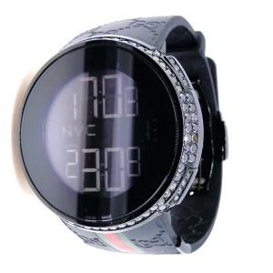 Gucci I-Gucci YA114207  Digital  2 Row Black Diamond Mens Watch
